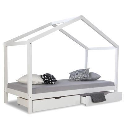 Házikó ágykeret 90x200 cm ,fiókkal, fehér - CABANE